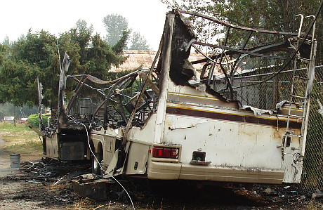 Motorhome remains after fire